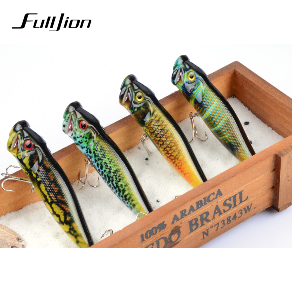 Fulljion 4pcs/lot Popper Fishing Lures Wobblers Crankbaits Painting Series Hard Baits Artificial Isca Pesca 9.5cm 12g