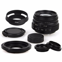 35mm F1.6 CCTV Lens C Mount Camera Lens +Lens Hood kit For Canon EOS M M1 M2 M3  M5 M6 M10 EF-M Mirrorless Camera