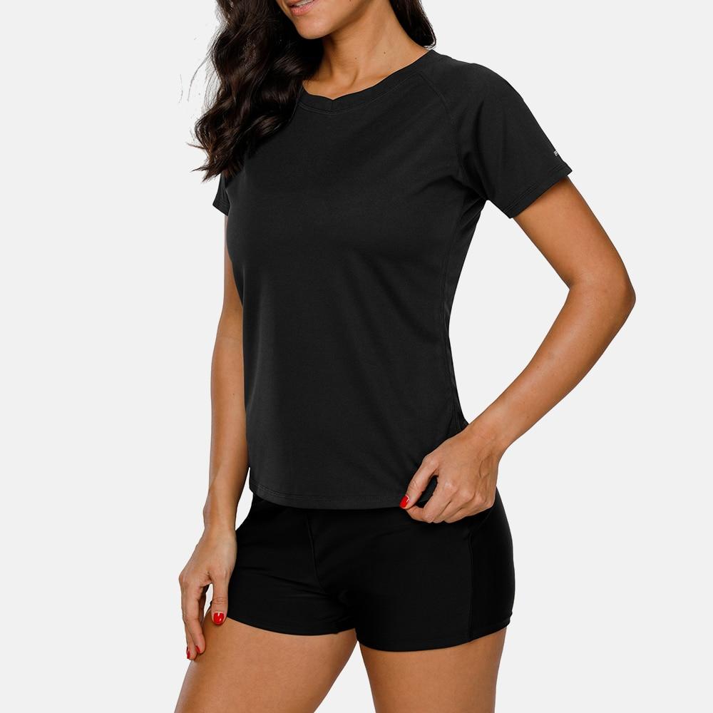 Charmo Women Short Sleeve Dry Fit Quick drying Rashguard Swimsuit Shirt Swimwear UV Protection Rash Guard UPF 50 Running Shirts in Rash Guard from Sports Entertainment