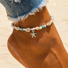 Nuevas tobilleras de estrella de mar con cuentas de concha para mujer, tobillera de playa, pulsera de pierna, cadena de pie Bohemia hecha a mano, joyería Boho, sandalias de regalo