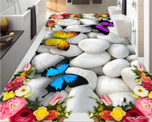 beibehang 3d flooring advanced three-dimensional high-definition aesthetic Rose Butterfly cobblestone floor papel de parede