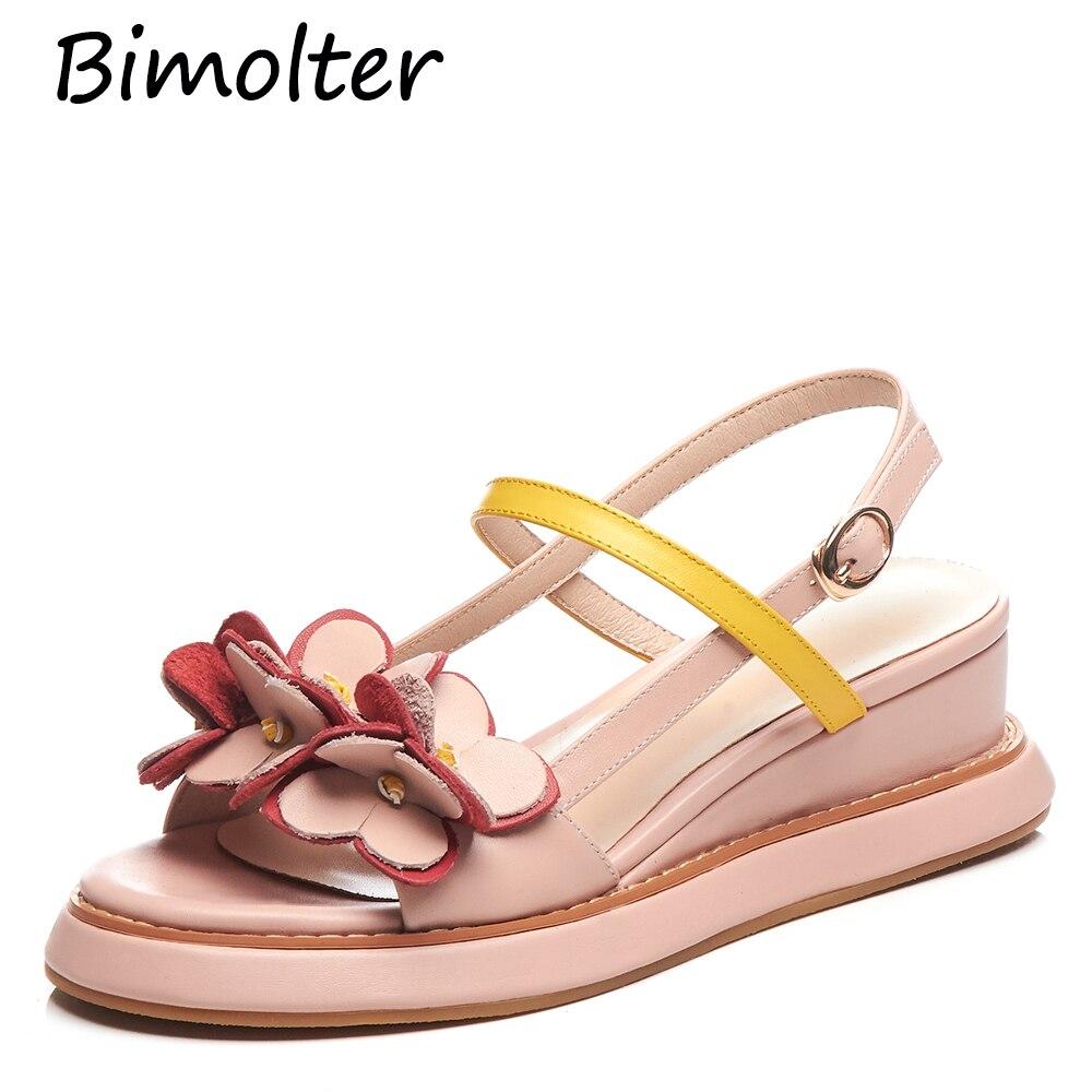 Bimolter Original Vintage Flower Thick Bottom Sandals Cow Leather Wedges Heels Women Sandals Platform Handmade Brand Shoes FC062