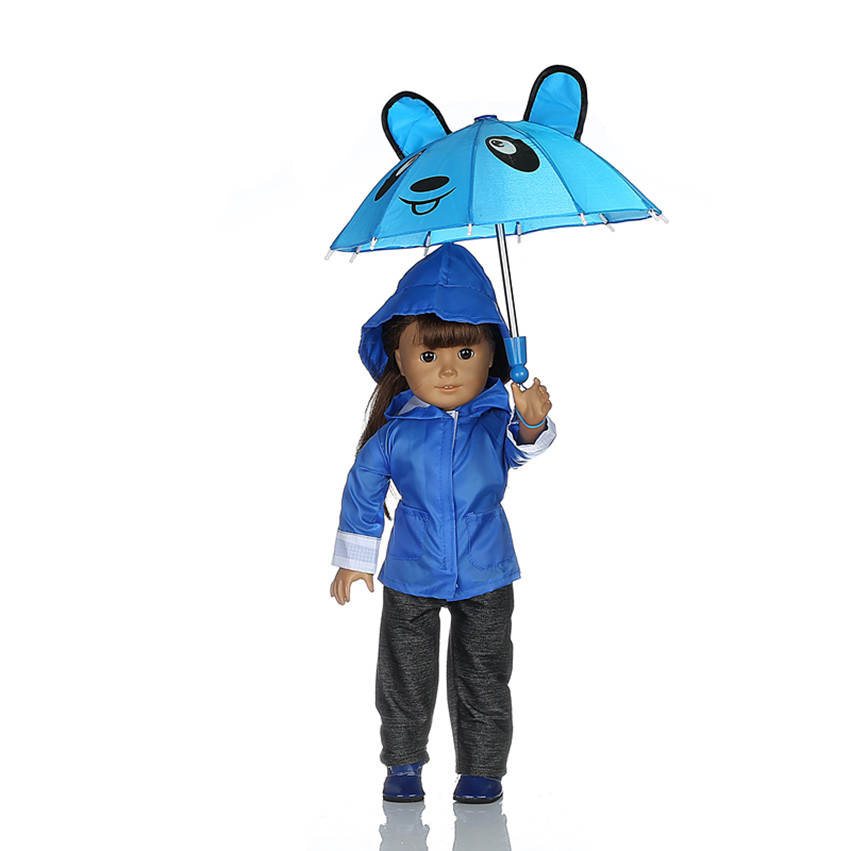 Rain Coat Doll Clothes for 18 inch American Girl Dolls:- Includes Rain Jacket, Umbrella, Boots, Hat, Pants, and Shirt b892 [mmmaww] christmas costume clothes for 18 45cm american girl doll santa sets with hat for alexander doll baby girl gift toy