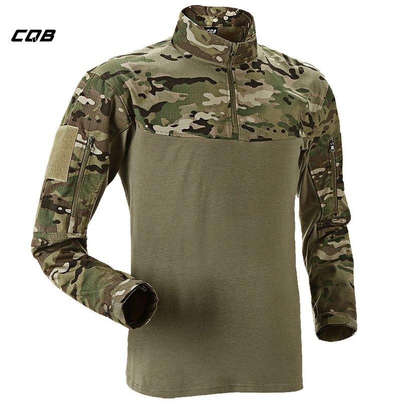 868b9c93650 Купить CQB Тактические Охота Рубашка в стиле милитари камуфляж лоскутное  Coolmax быстросохнущая дышащий эластичный Кемпинг футболка Продажа Дешево