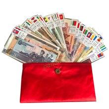 Набор 52 шт. заметок из 28 стран UNC, настоящий(но истек срок годности, в настоящее время не используется) с красным конвертом, подарок world note