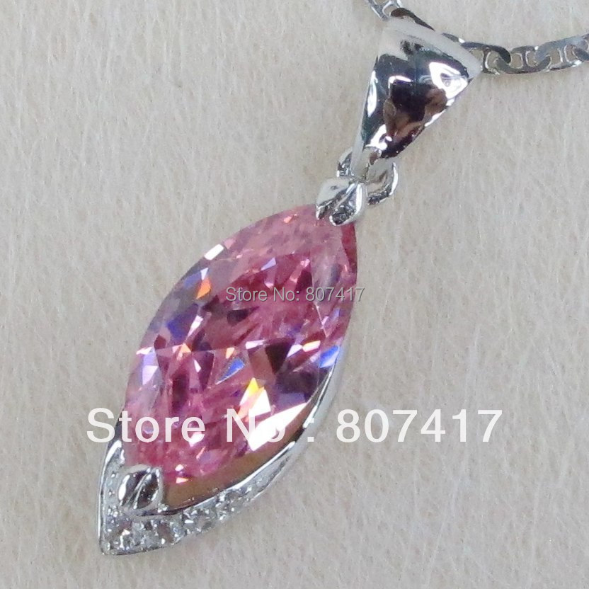 SHUNXUNZE sumptuous Pretty Lady Silver Plated Favourite Hot PINK Cubic Zirconia Pendants R825 Exquisite Gift Engagement Wedding