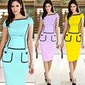 summer style pencil dress color match short sleeve work dresses vestido de festa party dresses 2016 women plus size XXL