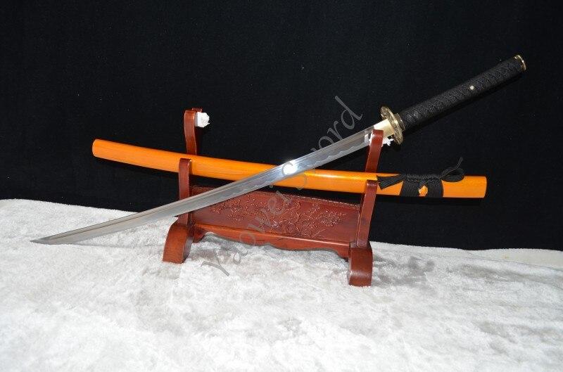 Japonais samouraï épée katana classique Tsuba 1060 en acier forgé pleine Tang peut couper la bouteille d'eau