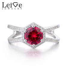 Leige Jewelry Lab Ruby Ring Promise Rings  Genuine Solid 925 Sterling Silver Round Cut Red Gemstone July Birthstone Presents