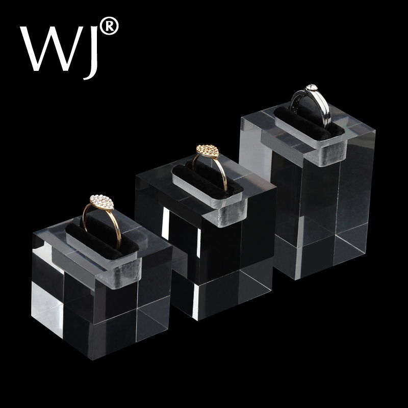 2019 New Arrival Clear Acrylic Stand Holder Rack Case For 3 Rings Jewelry Display Portrait Showcase Mannequin Ring Tary 3pcs/lot