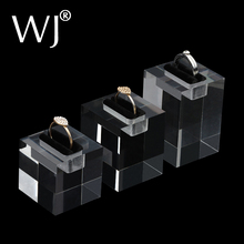 2015 New Arrival Clear Acrylic Stand Holder Rack Case For 3 Rings Jewelry Display Portrait Showcase Mannequin Ring Tary 3pcs/lot