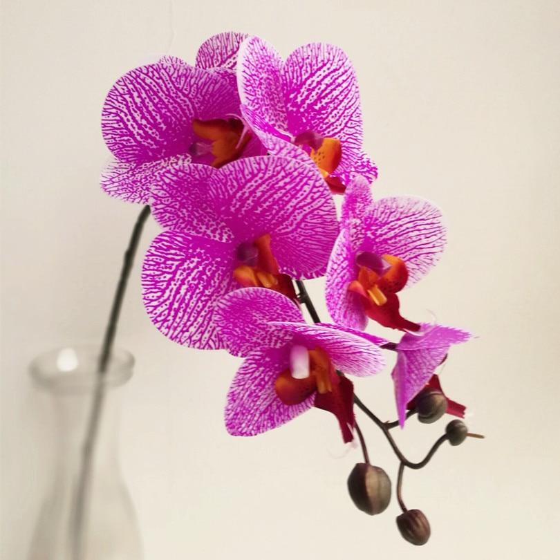 6p Real Touch Orchid 7 Heads pu Orchideje Falešný Phalaenopsis zapalovač fialový pro svatební Centerpieces Domácí Party dekorativní květiny