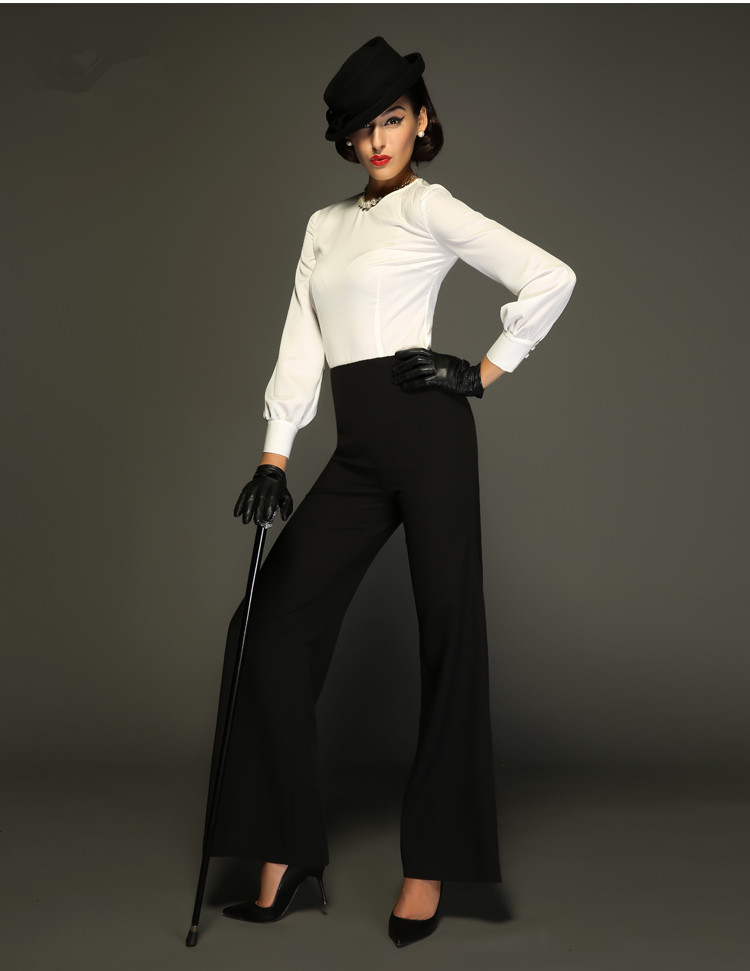 2969fc15d88 30- women vintage 50s Audrey Hepburn style high waist long flare wide leg  pants in black plus size elegant trousers