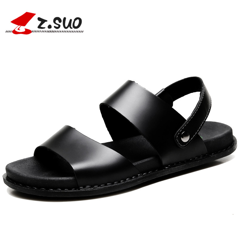 4674a48d7872a Classical Maturity Brown Men Sandals Leather Summer Fashion Vintage Flat  Solid Beach Shoes For Men Breathable