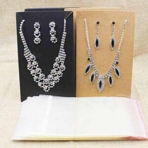 Image 1 - 15.5*9.5 cm zwart/kraft grote kostuum ketting met oorbel card grote sieraden set pakket tonen kaart 100 stks + 100 wedstrijd tas