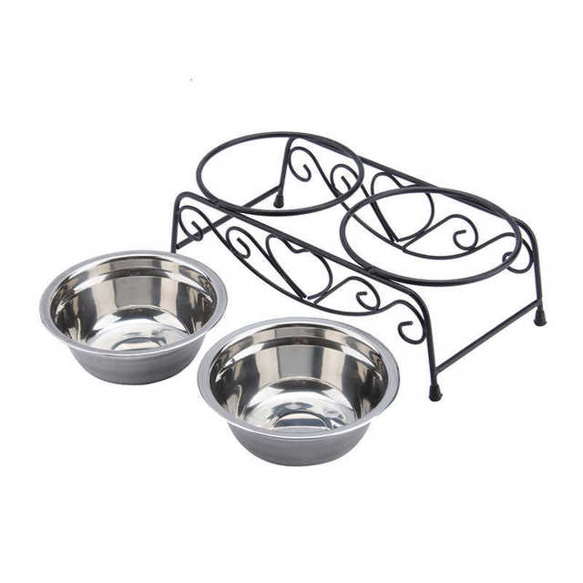 Double Stainless Steel Bowls Dog Cat Pet Food Water Feeder Dish With Retro Iron Stand Pet Food Bowls For Dog 3