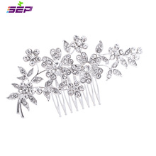 Rhinestone Crystals Zinc Alloy Hair Combs Little Girl Hairpins For Bridal Wedding Hair Jewelry Accessories Xby080