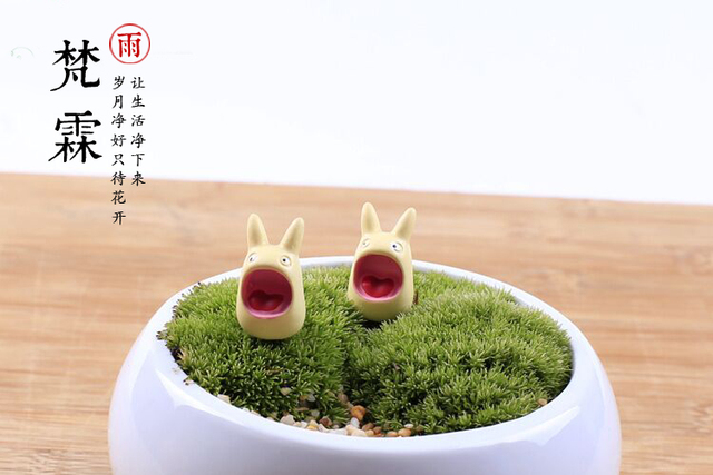 Moss Microscope Resin Decoration Miyazaki Jun Tuo Lolong cat ornaments multi - meat plant ornaments flowers inserted