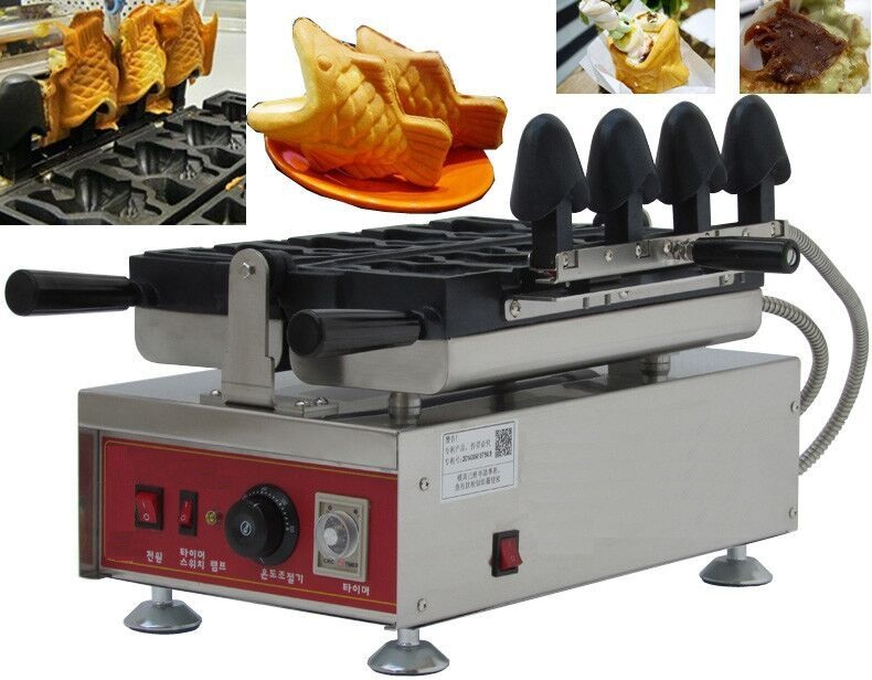 Korea Taiyaki Machine With Digital Thermostat, Open Mouth Fish Waffle Maker оливница elan gallery волна оливки 30 4 5 3 см