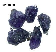 цены на Wholesale Small Natural Stone Charms Pendant Unique Purple Crystal Irregular Women DIY Necklaces Earrings For Jewelry Making  в интернет-магазинах