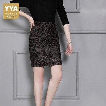 2020 New Women Printing Genuine Leather Skirts Fashion High Waist Slim Sexy Midi Long Skirt Lady Casual Autumn Winter Sheepskin