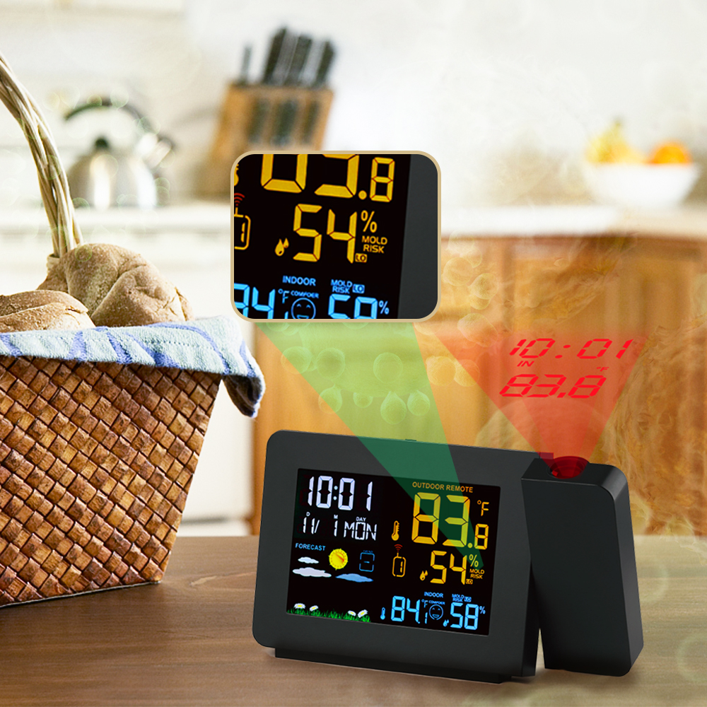 Radio Controlled Weather Station with Indoor//Outdoor Sensor Time Alarm Clock