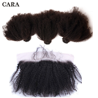Afro Kinky Curly Hair With Frontal Closure 3 Human Hair Bundles With Lace Frontal Brazilian Remy Hair Weave Extensions CARA