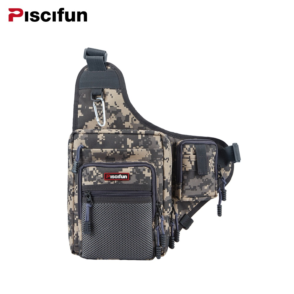 Piscifun Multi-Purpose Fishing Bag Waterproof Canvas Waist Pack Zipper Outdoor Bag Reel Lure Bags Pesca Fishing Tackle Bag trulinoya multi purpose fishing bag 24 15 cm fish lock lure box accessories box style fishing bag set fishing tackle best