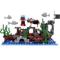 NOVA Série Piratas Do Fundo Do Mar Naufrágio Roubar o Tesouro Da Cidade Building Blocks Define Bricks Modelo FIGURAS Brinquedos Dos Miúdos Compatível Lepins