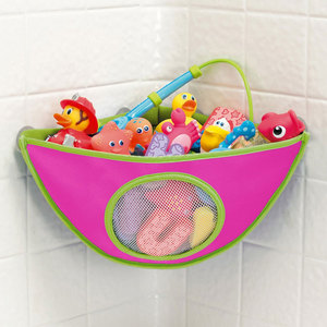 Kids Bath Toys Organizer Storage Bag With Suction Cup Bathroom Waterproof Bathing Toys for Children Collection Hanging Wall Bag(China)