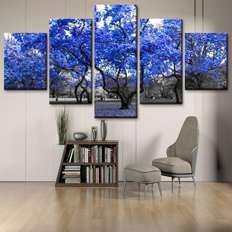 Modern Home Decor Black And White Background Blue Tree Landscape