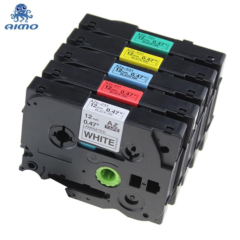 5 Pack 12mm Mischte Farbe Combo Set Tze-231 Tze-431 Tze-531 Tze-631 Tze-731 Laminiert Label Bänder Kompatibel Brother P- Touch