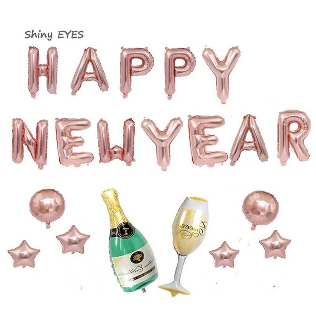 shiny eyes 2019 rose gold 32inch aluminum balloons banner happy new year holiday party beer cup