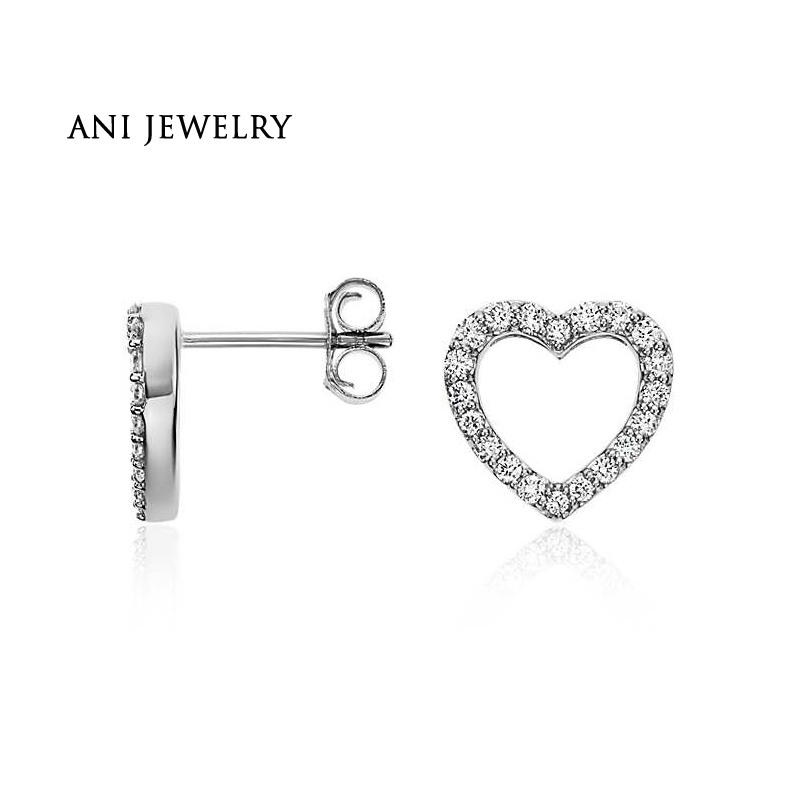 ANI 14K White Gold Women Stud Earrings 0.29 CT Certified I/S1 Natural Diamond Bijoux Heart Shape Earrings boucle d oreille серьги кольца fashion in 40 d oreille brincos argola pequeno 40er 1