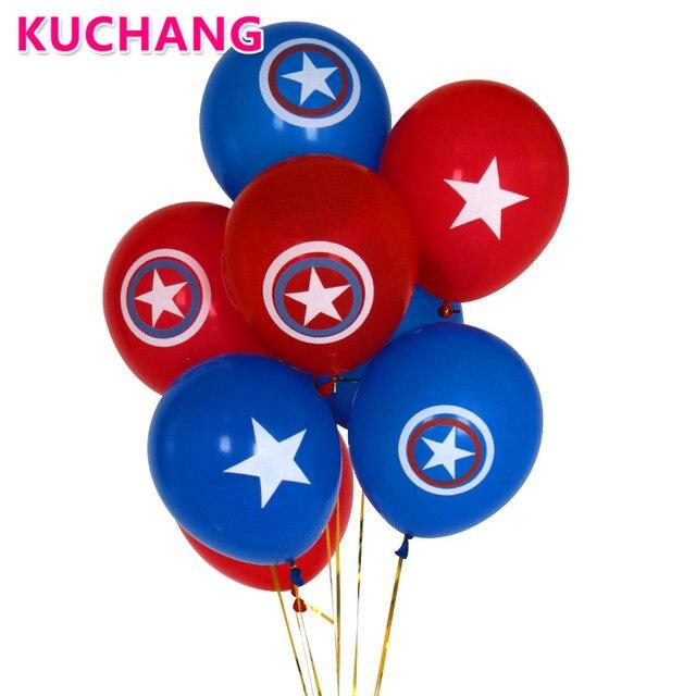 12pcs/lot 10inch Avengers Alliance Blue Red Latex Balloons Captain America Shield Globos Classic Hero Theme Birthday Party Decor