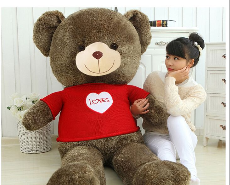 stuffed toy huge 160cm dressed cloth teddy bear plush toy loves bear doll soft hug pillowm gift 0451 stuffed animal 120 cm cute love rabbit plush toy pink or purple floral love rabbit soft doll gift w2226