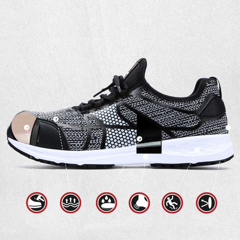 MODYF Erkekler Güvenlik Ayakkabıları Çelik Ayak iş ayakkabısı Ultra Hafif delikli sneaker Yansıtıcı şerit Fly kumaş Rahat Ayakkabılar