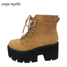 Купить с кэшбэком snow shoes brown black boots platform shoes ankle boots High Heel shoes motorcycle Boots women winter shoes botines mujer YMA489