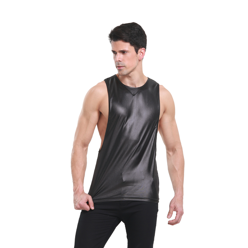 2 Colors Men Tank Tops Vests Sexy Faux Leather Singlet Sleeveless O-Neck Tops Mens Casual Undershirt Summer Clubwear