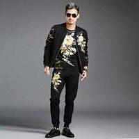 Китайский ветер костюм для досуга на осень зиму Мужская модная куртка два комплекта