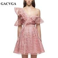 GACVGA 2017 Pink Princess Lace Dress Hollow Out Women Summer Dress Tunique Femme Frill Mini Sexy
