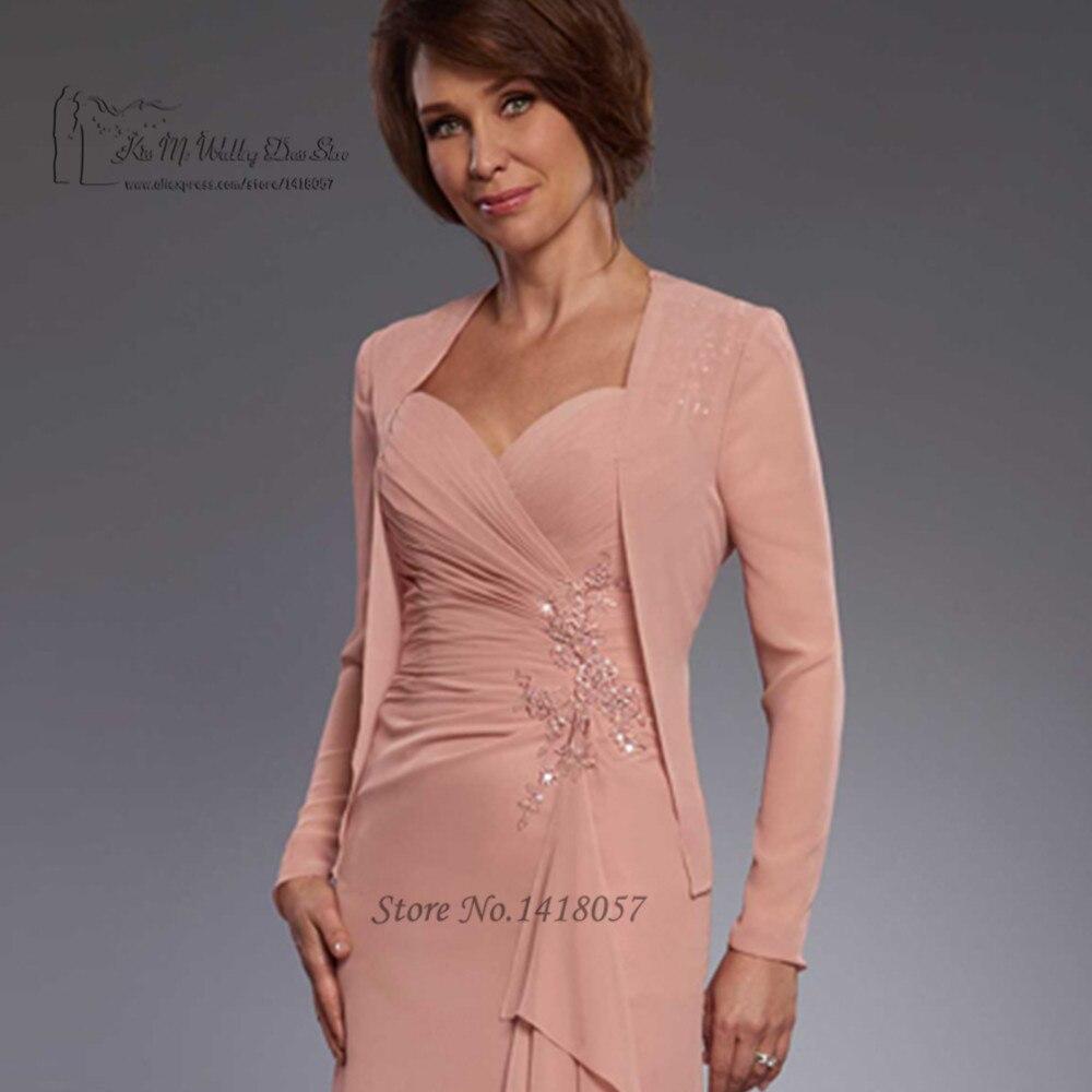 Alt Rosa Mutter der Braut Kleider mit Jacke Spitze Perlen Vestido de ...