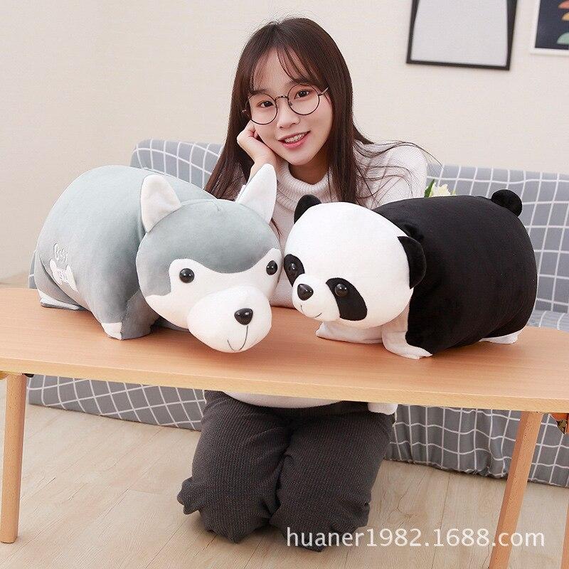 Mignon panda husky oreiller avec couverture voiture multi-fonction couverture animaux en peluche dessin animé cadeau d'anniversaire