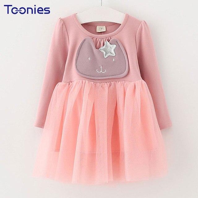 Дети девушки весна с длинными рукавами сетки Лоскутные платья для девочек Теплые платья Star пояс принцессы для девочек Платья