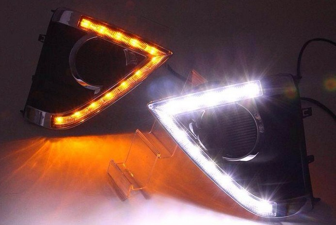 Free Shipping, Turn Signal light function  LED DRL Daytime Running Lights accessories for 2014 toyota corolla with fog lamp hole tcart for toyota rav4 2016 2017 drl daytime running light with turn signal light function headlight fog lights led car day light