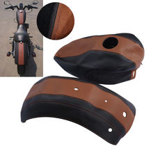 Motorcycle Motorbike Fuel Gas Tank Leather Cover and Fender Protector For Harley Sportster 883 2009-2011 pazoma motorbike steel green orange gas tank motorcycle fuel tank for simson s50 s51 s70