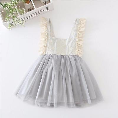Flower Girls Princess Kids Baby Lace voile V-back sleeveless slash neck Dresses Clothes 2-7Y