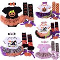 0-1yrs Baby Girl Halloween Cosplay Costumes Pumpkin Powwow Hat Ghost Romper Dress+Stockings+Shoes+Headband 4pcs Clothing Sets
