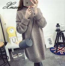 Xnxee sweater female 2019 autumn and winter new Korean version of the set of loose half-high collar knit jacket long skirt wild цены онлайн