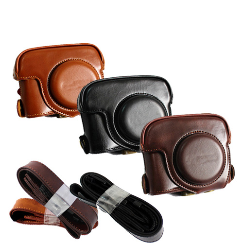New Pu Leather Camera Case Bag For Canon Powershot G15 G16 with Strap